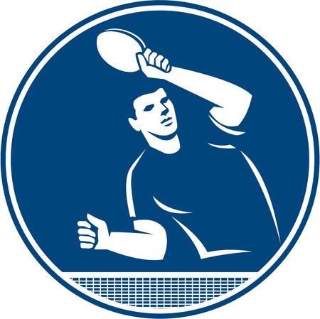 レトロなスタイルで行われる分離の背景に円の内側側・ フロント ・ セットからのサーブを返すラケットのサービングとの卓球プレーヤーのアイコ  イラスト・ベクター素材