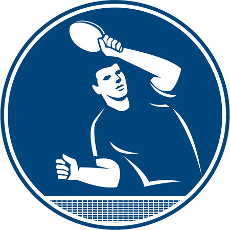 Icon illustration of a table tennis player with racket serving returning serve viewed from side front set inside circle on isolated background done in retro style.