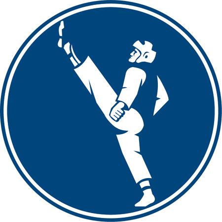 tae: Ilustraci�n Icono de un hombre en combate de taekwondo patadas postura visto desde el conjunto de lado dentro del c�rculo sobre fondo aislado hecho en estilo retro.