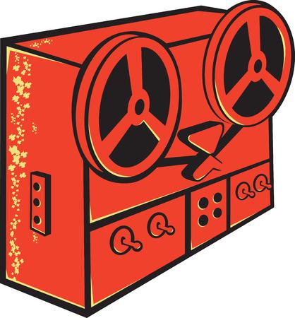 magnetofon: Ilustracja maszyny magnetofon, magnetofonu, rolki na szpuli magnetofonu, magnetofon kasetowy lub taśmy wykonanej w stylu retro na pojedyncze białym tle.
