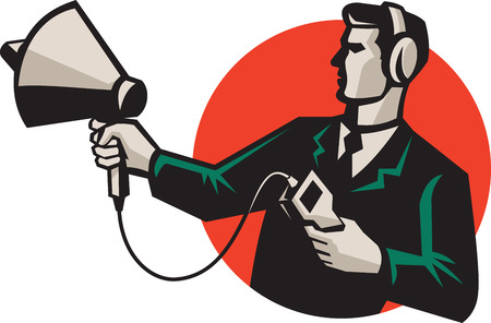 sonic: Illustration of technician engineer pointing a sonar radar ultrasound sonic equipment set inside circle done in retro style. Illustration