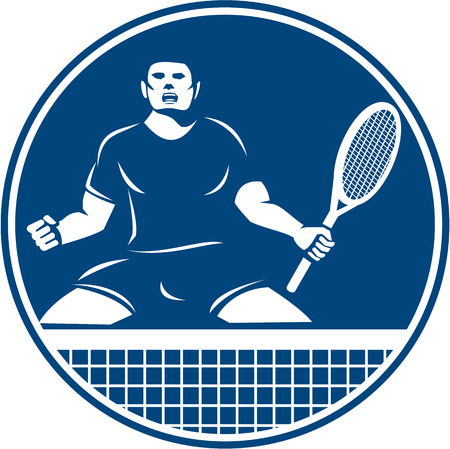 pumping: Icon illustration of a tennis player with racquet fist pumping set inside circle flames on isolated background done in retro style. Illustration
