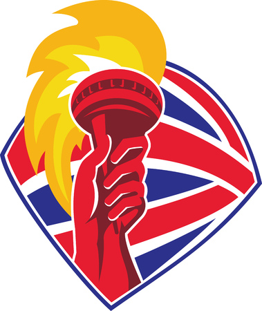 Illustration of a hand holding flaming torch set inside shield with great britain british flag in background done in retro style. Vector