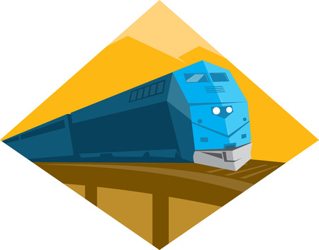 diesel train: Illustration of a diesel passenger freight train crossing viaduct bridge set inside diamond shape done in retro style with mountain in the background.