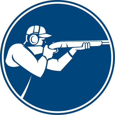 Ilustración Icono de un hombre con el disparo de escopeta apuntando en el deporte de tiro trampa visto desde el lado dentro del círculo en el fondo aislado hecho en estilo retro. Ilustración de vector