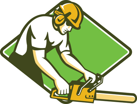 Illustration of a tree surgeon arborist gardener tradesman worker holding a chainsaw cutting working facing side set inside diamond shape done in retro style on isolated background.