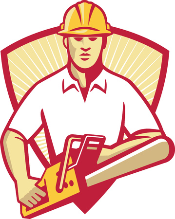 Illustration of a tree surgeon arborist gardener tradesman worker holding a chainsaw facing front set inside shield with sunburst in the background done in retro style.