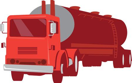 camión cisterna: Ilustración de un vehículo comercial camión cisterna de cemento visto de frente hecho en estilo retro en el fondo blanco aislado.