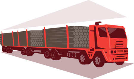 logging: Illustration of a logging lorry truck and trailer viewed from side done in retro style.