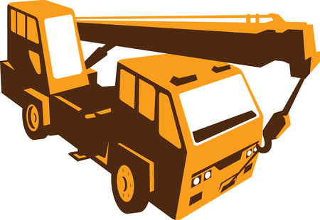 hoist: Illustration of a truck mounted hydraulic crane cartage with hydraulic boom hoist done in retro style viewed from a high angle. Illustration