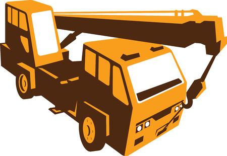 idraulico: Illustrazione di un camion montato trasporto gru idraulica con argano braccio idraulico fatto in stile retr� visto da un angolo alto.