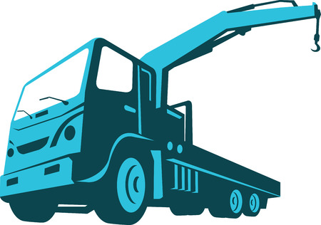 hydraulic: Illustration of a truck mounted hydraulic crane cartage hoist done in retro style on isolated white background viewed from a low angle.
