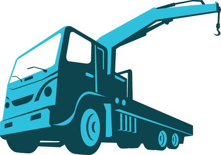 idraulico: Illustrazione di un camion montato idraulica di sollevamento gru trasporto fatto in stile retr� su sfondo bianco isolato visto da un angolo basso.