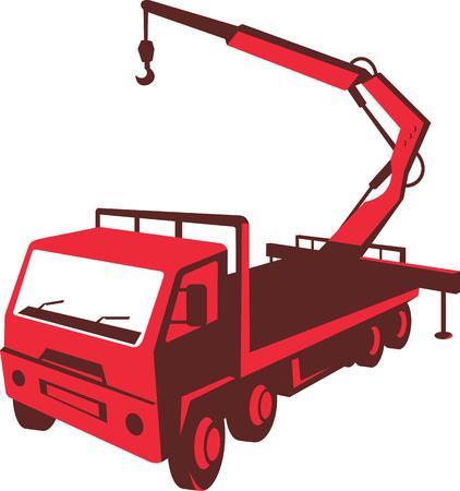 camion grua: Ilustración de un camión montado acarreo grúa hidráulica con elevador hidráulico de la pluma hecha en estilo retro en el fondo blanco aislado visto desde un ángulo alto.