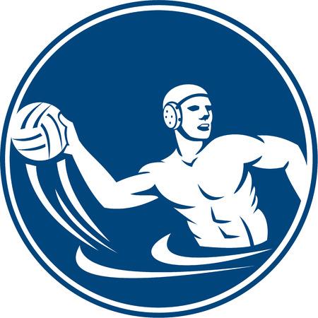 waterpolo: Ilustración Icono de un jugador de waterpolo bola que lanza establece dentro del círculo en el fondo aislado hecho en estilo retro. Vectores