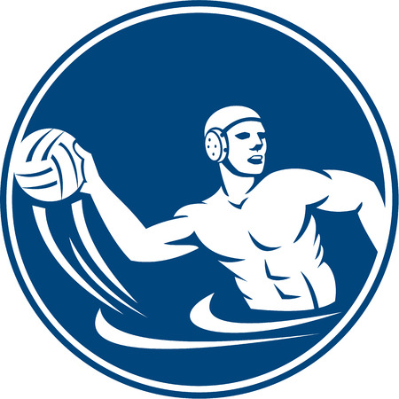 Icon illustration of a water polo player throwing ball set inside circle on isolated background done in retro style. Illustration