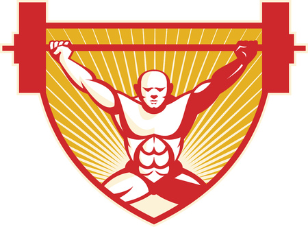 weightlifter: Illustration of a weightlifter lifting barbell weights viewed from front set inside shield done in retro style with sunburst in the background. Illustration