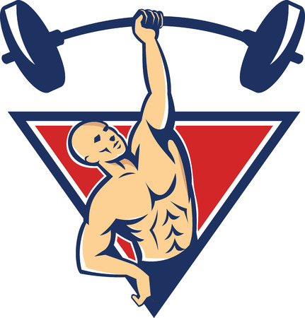 lifting weights: Illustration of a weightlifter bodybuilder lifting weights barbell with one hand set inside triangle done in retro style.