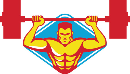 weightlifter: Illustration of a weightlifter bodybuilder lifting weights viewed from front set inside diamond shape done in retro style. Illustration