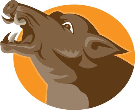 jabali: Ilustración de un salvaje cabeza jorobado cerdo cerdo enojado visto desde el lado fijó el círculo interior hecho en estilo retro.