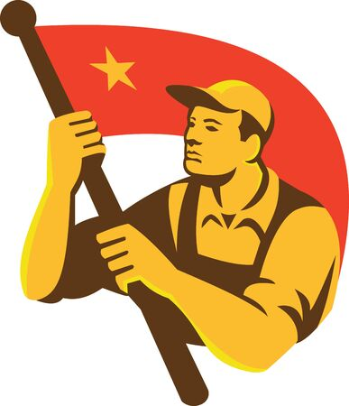 Communist: Illustration of a Chinese Communist worker holding waving red flag facing side with star done in retro style. Illustration