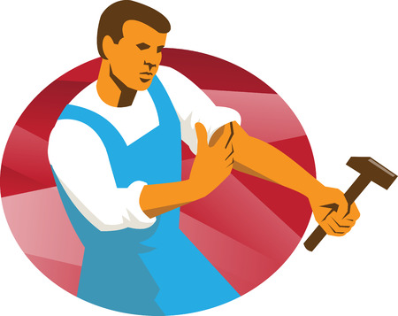 rolling up: Illustration of a male worker holding hammer rolling up sleeve facing side done in retro style set inside circle.