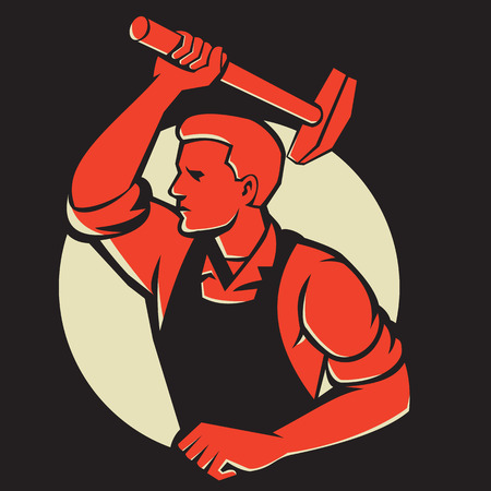 Illustration of a worker with hammer striking viewed from side done in retro style. Illustration