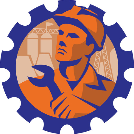 foreman: Illustration of a construction engineer worker mechanic wearing hardhat holding wrench spanner with pylon and buildings in background set inside mechanical gear cog done in  retro style. Illustration