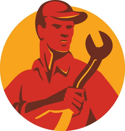 tradesman: Illustration of a mechanic tradesman worker holding wrench spanner set inside circle done in retro style. Illustration