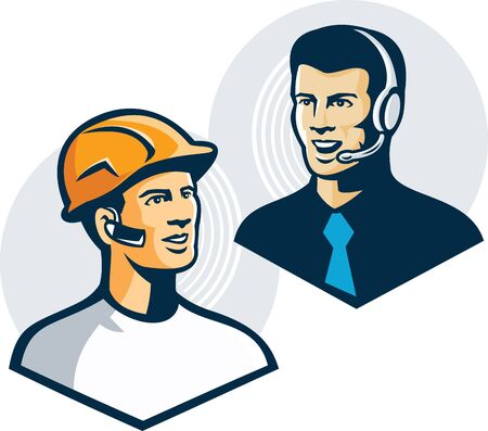 earpiece: Illustration of a construction worker with bluetooth earpiece talking to telemarketer customer service salesman with headphones done in retro style.