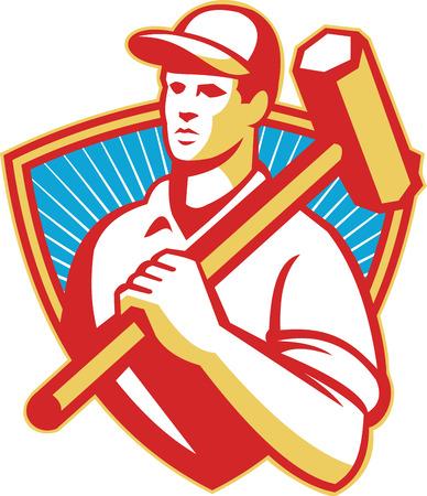 sledgehammer: Illustration of a construction worker holding sledgehammer on shoulder set inside shield done in retro style with sunburst in the background. Illustration