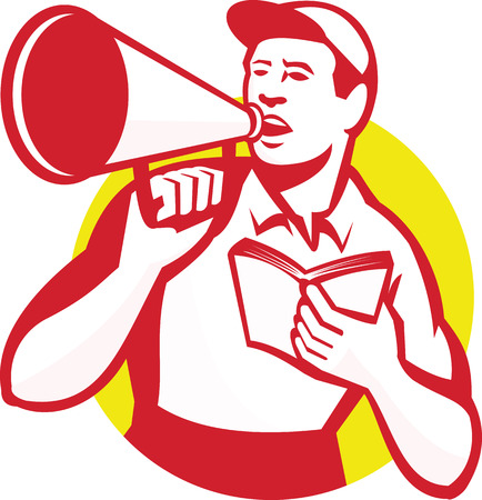 Illustration of a worker with bullhorn and book shouting set inside circle done in retro style.