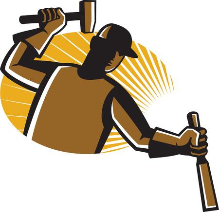 carpintero: Ilustraci�n del trabajador carpintero con sorprendente martillo cincel dentro de �valo con rayos de sol en el fondo hecho en estilo retro. Vectores