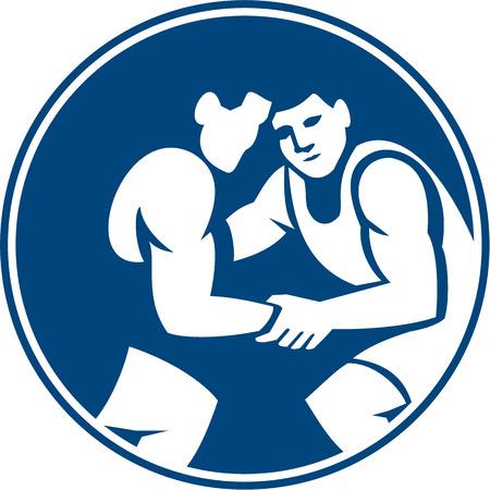 iconography: Icon illustration of wrestlers wrestling set inside circle on isolated background done in retro style.