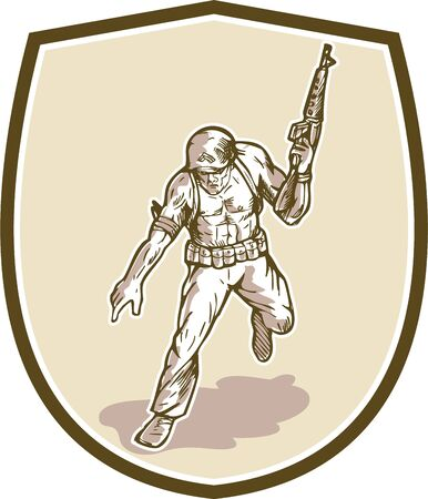 serviceman: Illustration of an American soldier serviceman military with armalite rifle pointing set inside shield crest done in cartoon style.