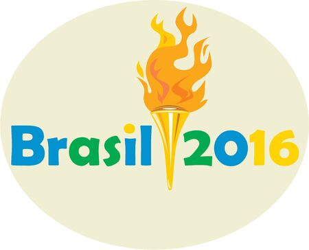 flaming torch: Illustration of flames flaming torch viewed from front with words Brasil 2016 depicting the summer games on isolated white background.