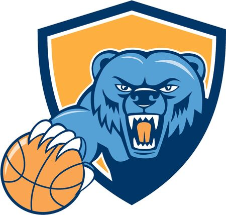 growling: Illustration of a grizzly bear head angry growling holding basketball viewed from front set inside shield crest on isolated background done in cartoon style.