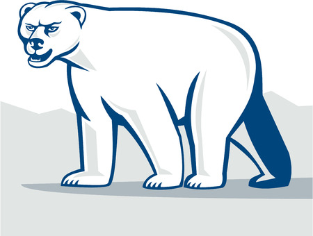 Cartoon style illustration of a polar bear walking viewed from the side set on isolated white background.