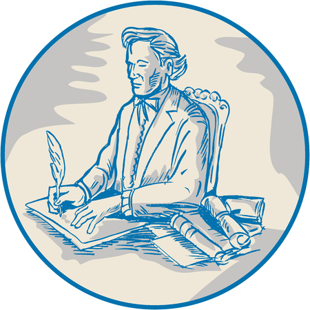signing document: Illustration of a victorian man gentleman sitting signing documents with quill pen viewed from side set inside circle done in cartoon style. Illustration
