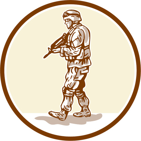 american soldier: Illustration of an American soldier serviceman military with armalite rifle walking viewed from the side set inside circle done in cartoon style.