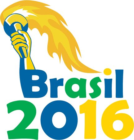 flaming torch: Illustration of an athlete hand holding flames flaming torch viewed from front with words Brasil 2016 depicting the summer games on isolated white background.