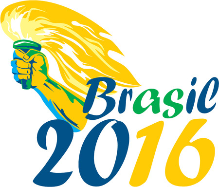 flaming torch: Illustration of an athlete hand holding flames flaming torch viewed from side with words Brasil 2016 depicting the summer games on isolated white background.