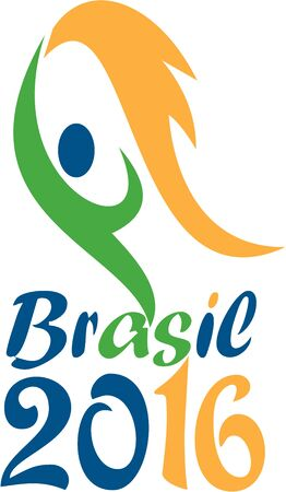 brasil: Illustration of an abstract athlete on flames holding a flaming torch with words Brasil 2016 depicting the summer games on isolated white background.