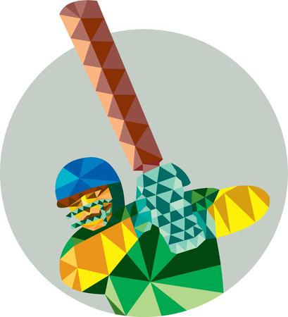 bateo: Ilustraci�n de estilo poligonal baja de un bateador del jugador del grillo con el palo de bateo fij� el c�rculo interior.