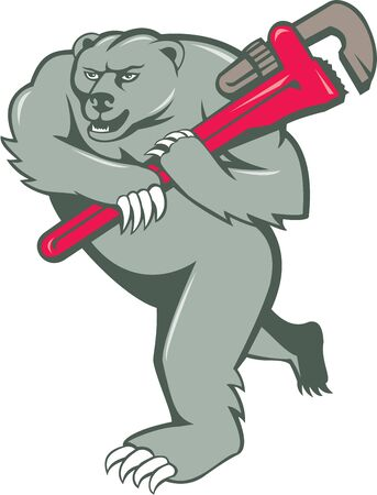 monkey wrench: Illustration of a grizzly bear plumber running holding monkey wrench on shoulder  set on isolated white background done in cartoon style.