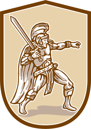 Illustratie van centurion Romeinse soldaat gladiator met zwaard zwaaiende bekeken vanaf de set binnen schild kuif gedaan in cartoon stijl op geïsoleerde achtergrond kant.