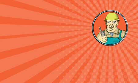 holding business card: Business card showing illustration of a builder construction worker facing front holding radio phone set inside circle on isolated background done in retro style.