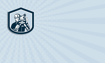teodolito: Tarjeta de negocios que muestra la ilustración de un ingeniero geodésico del topógrafo con el instrumento teodolito agrimensura visto desde delante conjunto dentro de la forma cresta escudo hecho en estilo retro. Foto de archivo