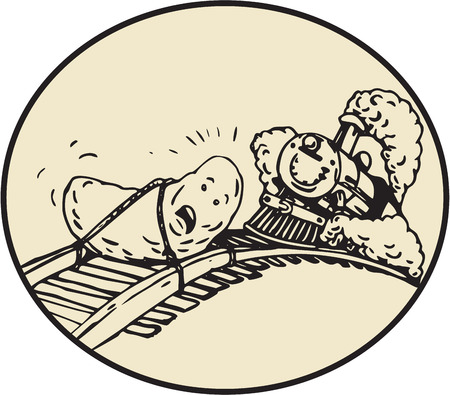 tied up: Cartoon style illustration of a date fruit tied with rope to rail railroad track with steam train coming up set inside oval shape. Illustration