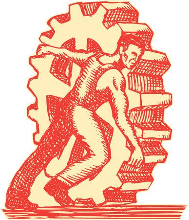 obrero: Ilustración de estilo artesanal de grabado Grabado de un trabajador de una fábrica de rodadura mecánica de engranajes rueda dentada situado en el fondo blanco aislado.
